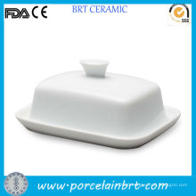Fine Plain Ceramic Butter Dish with Lid