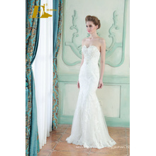 ED Bridal New Product Sexy Sleeveless Beads Lace Appliqued Customized Mermaid Wedding Dress 2017