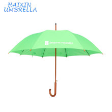 OEM Chinese Straight Automatic Cheap Custom Green Wooden Umbrella Custom Logo Promotional