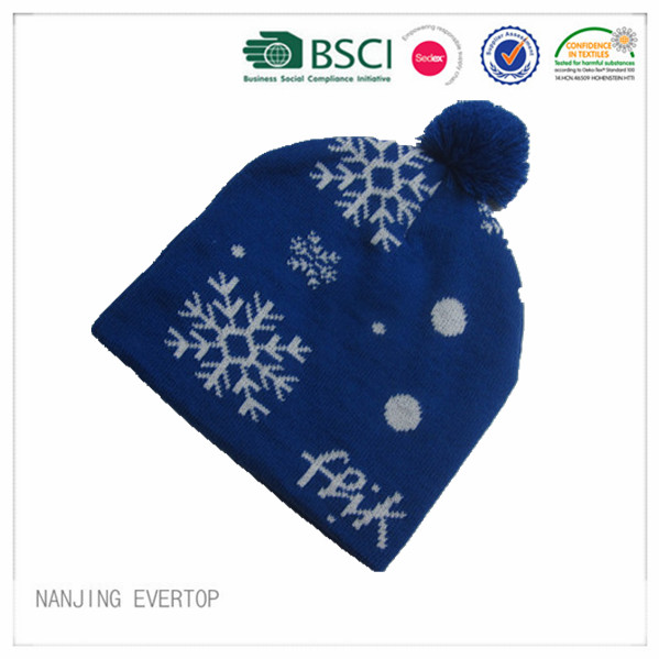 Royal Blue Jacquard Pompom Winter Hat