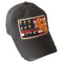 Washed Baseball Cap with Applique (6P1204E)