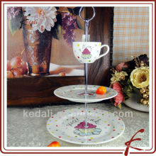 2 layers Ceramic Cake stand with cup