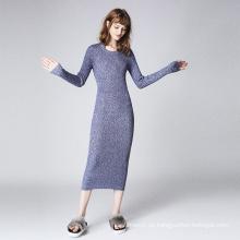 Arbeiten Sie langes Hülsen-heißes Art-Dame-Kleid dünnes strickendes Frauen-Kleid um