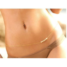 Womens Fashion Gold Körper Bauch Cute Perlen Taille Kette Halskette Bikini Beach Harness
