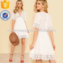 Lace Trim Eyelet bestickte Kleid Herstellung Großhandel Mode Frauen Bekleidung (TA3152D)