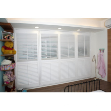 Wooden Material and Horizontal Opening Pattern White Interior Decorative Window Plantation Shutter