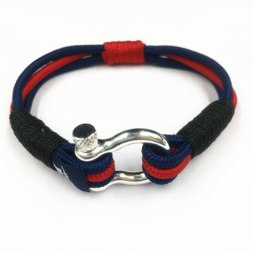 Rostfritt stål Shackle Cotton Nylon Cord Armband