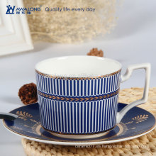 Blue Stripe Royal Design Alta calidad de hueso de porcelana China Té taza de café y platillo Set