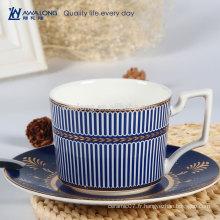 Blue Stripe Royal Design Haute qualité en porcelaine en ossature en Chine Tea Coffee Cup and Saucer Set