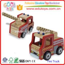 2016 Reizendes Karikatur-Feuer-LKW-Spielzeug für Kind, rote Farbe Mini-hölzernes Feuer-LKW-Spielzeug für Kinder, gefertigtes Mini-Feuer-LKW-Spielzeug