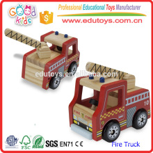 2016 Lovely Cartoon Fire Truck Toy para crianças, Red Color Mini Wooden Fire Truck Toy para crianças, Crafted Mini Fire Truck Toy
