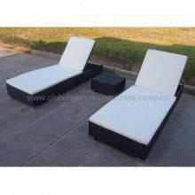 Outdoor Chaise Lounges/Sun Beds with PE Rattan, Square Bed Size 198 x 75 x 35cm