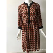 платье с длинным рукавом из полиэстера с принтом