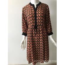 vestido de manga comprida de poliéster impresso CDC