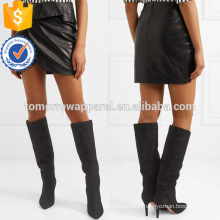 Asymmetric Black Ruffled Wrap Leather Mini Summer Skirt Manufacture Wholesale Fashion Women Apparel (TA0052S)