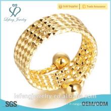 Anneaux plaqués en or jaune réglables à la main