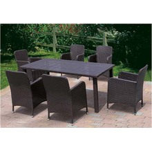 Aluminum Frame Rattan Garden Furniture Dining Set