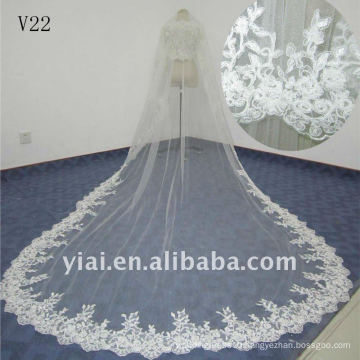 V22 Real Sample Long Beaded One Layer Lace wedding Veil 2012