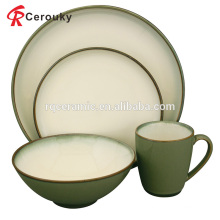 Custom plain white and green ceramic stoneware dinner set