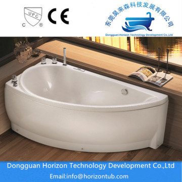 White Soaking Corner Bathtub with Head Support
