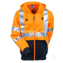 Men's Orange High-Visibility Hooded Sweatshirt