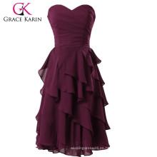 Grace Karin Señoras Strapless longitud de la rodilla gasa vestido de noche de uva corta CL3439