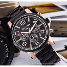 Großes Zifferblatt Lederband Quarz Herrenuhren Mode Vintage Uhr Wasserdicht Multifunktions Herrenuhren