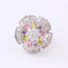Anillo de dedo plateado plata de la flor grande del diamante de la moda 11826 de la manera CZ para casarse