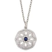 14k Gold Sapphire Diamond Necklace,Diamond Pendant,Fine jewelry