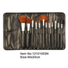 12pcs black plastic handle animal/nylon hair makeup brush kit with black PU fold case