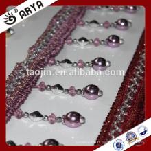 Liquidation du produit en stock 2016 pour le rideau de canapé Oreiller de la bande de perles en métal imité
