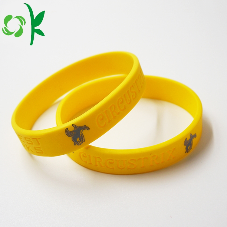 Yellow Silicone Engraved Wristbands