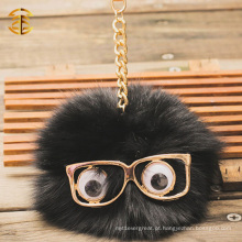 Fluffy and Cute Little Monster Raccoon Fur Pompom Keychain para saco Charm