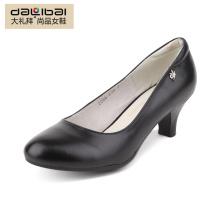 Mulheres de couro genuíno mulheres baixo calcanhar senhoras inverno sapatos de vestido preto