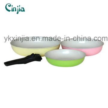 Hochwertige abnehmbare Griff Aluminium Keramik Frypan Set