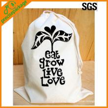 Saco de bolsa de cordão de algodão natural reutilizável