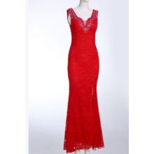 New European and American lace beaded annual banquet banquet banquet in the dress of a long dress of car model