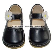 Black Baby Shoes with White Flower Toddler Shoes 0-24months