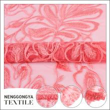 Novo design vestido de noiva dubai rosa bordado tecido de renda