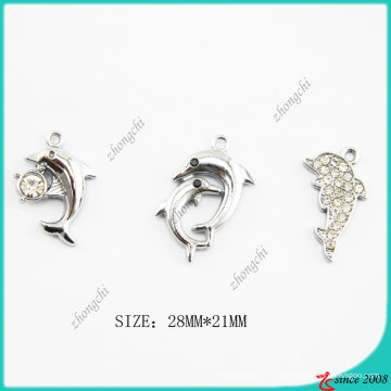 Metal Dolphin Charm para fazer pulseira de jóias