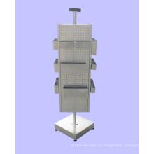 Freistehende 4-Way Pegboard Abnehmbare Haken Baby Shop Metall Rotierende Display Rack