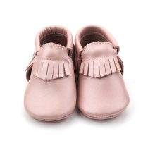 OEM Glitter Pink Fancy Baby Girl Leather Moccasins