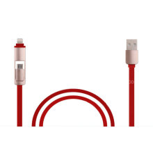 Hot-Sale Flat 2 in 1 USB Cable Fast Sync Cable and Fast Charging Cable for Ios, Android