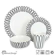 16PCS Porcelain Dinner Set with Geometrical Decal Design
