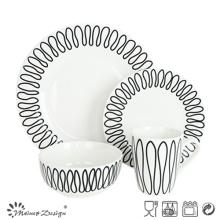 Conjunto de Jantar de Porcelana 16PCS com Design de Decalque Geométrico