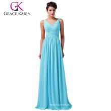 Grace Karin 5 colores de las señoras de cuello en V gasa sin mangas simplemente cielo azul vestido de noche se viste CL6010-3