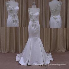 2015 Sexy Chaple Train Silk Satin Wedding Dress