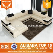 luxo fantasia simples confortável italiano top couro de grão sofá mobiliário com estante