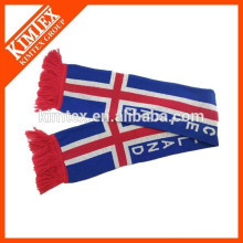 China supplier foot ball fan acrylic knitted scarf