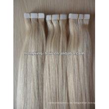 Qingdao Hersteller, 5A remy reines brasilianisches Menschenhaar Stock Klebeband Haarverlängerung